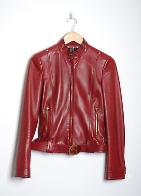 GUCCI Women Red Leather Biker Jacket Long Sleeve Belted Bomber Zip Up Sz IT 40 S