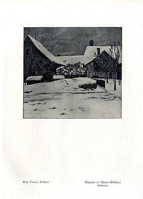 Emy Fenner, Zollikon Scheunen im Schnee n.e. Radierung Histor. Kunstdruck v.1913