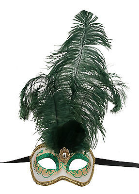Mask from Venice Colombine in Feathers Ostrich Green Mask Venetian - 1349 V78