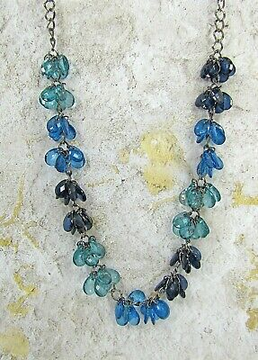 Blue Beaded Long Necklace with a Mix of Dark and Light Blue Dangling Beads - NEW