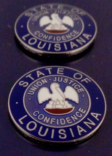 "2 Louisiana COLLAR/LAPEL PINS Silver state seal Police/Fire/EMS 15/16"" LA USA!"