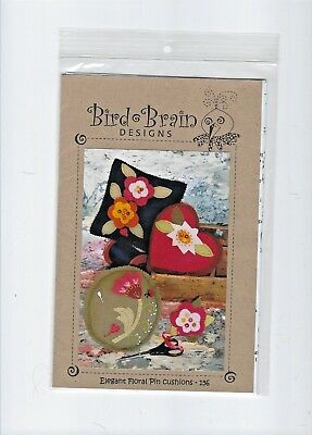 Bird Brain Designs Wool Penny Rug Embroidery Pattern, Elegant Floral Pin Cushion