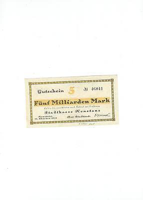 Rupertus 134.33  Notgeldschein Stadt Konstanz 5 Mrd Mark 25.10.1923