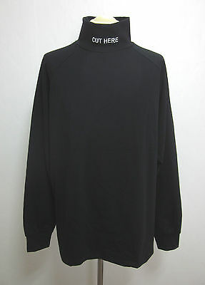 New Cut Here Embroidered Half Neck Long Sleeve T-Shirts Black Streetwear