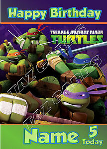 PERSONALISED-TEENAGE-MUTANT-NINJA-TURTLES-TMNT-BIRTHDAY-CARD-FREE-POSTAGE