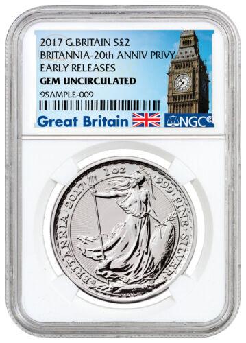2017 Britain 1 oz Silver Britannia 20th Trident Privy £2 NGC GEM BU ER SKU46487