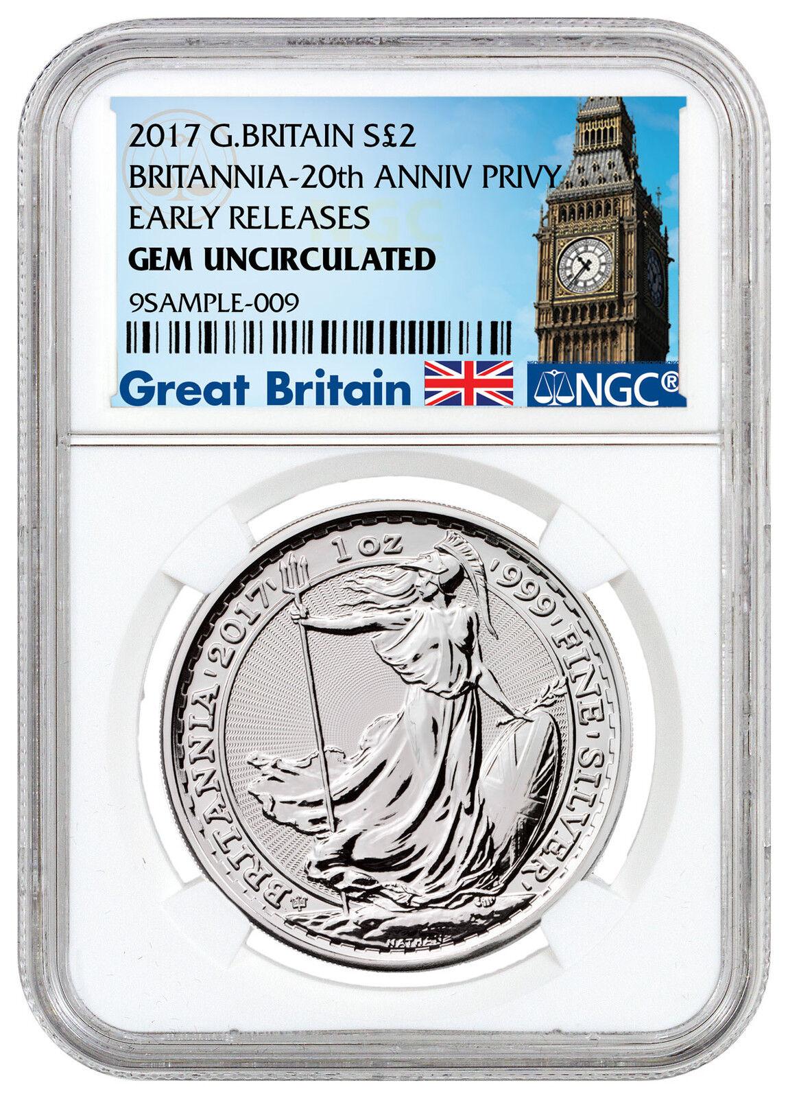 2017 Britain 1 Oz Silver Britannia 20th Trident Privy 163 2