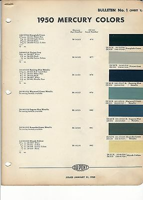 1950 MERCURY PAINT CHIPS (DUPONT)