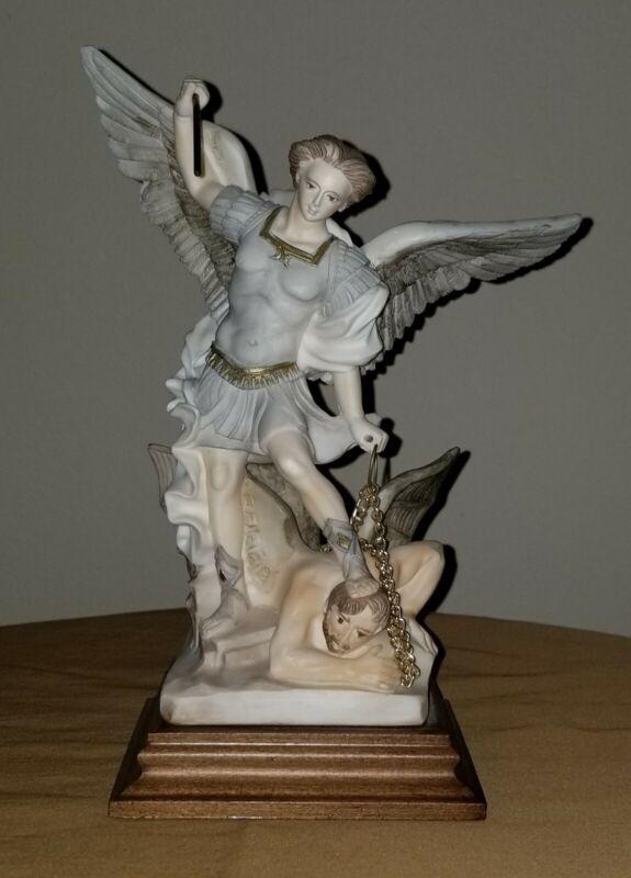 G Ruggeri Archangel St Michael Slays Devil Figurine Italy Vintage