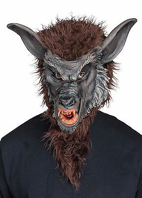 Brown Werewolf Mask Realistic Faux Fur Mens Adult Size Resin Fangs Were Wolf - Brown Wolf Mask