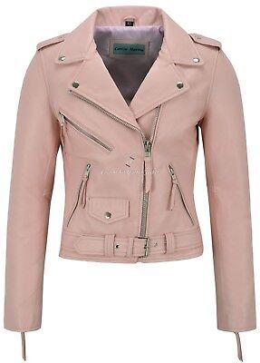 Ladie's Real Leather Jacket Baby Pink Napa Slim Fit Biker Motorcycle Style - Baby Pink Lady Jacket