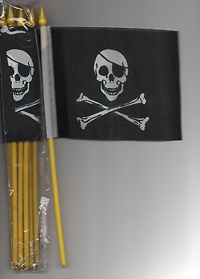 """12 SMALL 4""""X6""""inch.PIRATE JOLLY ROGER FLAGS ON POLES"""