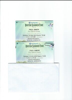 2 x Paul Simon - British Summer Time - Hyde Park - 15th July 2018 TICKET