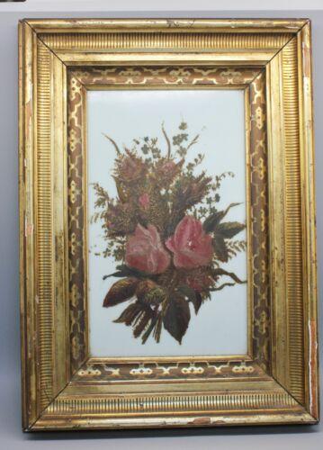 Wide Antique LEMON GOLD Gilt Stenciled Frame Milk GLass Painting Fine Art
