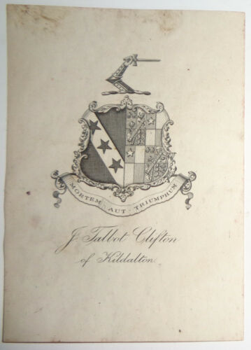 Armorial bookplate of John Talbot Clifton of Kildalton - 1920