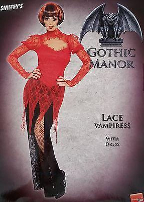 Lace Vampiress Red Dress Vampire Costume Vamp Halloween Small 8-10 NEW UK SELLER - Halloween Vampire Costume Uk