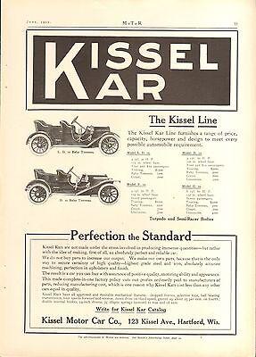 1910 KISSEL KAR 2 MODELS  ORIG VINTAGE CAR   AD