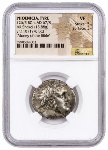 Phoenicia Tyre Silver Shekel Money of Bible Yr.110 (17/6 BC) NGC VF SKU46028