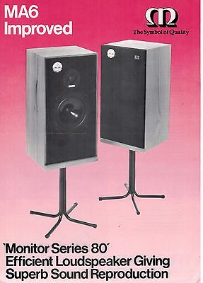 Monitor MA6 Improved Series 80 Loudspeaker Brochure / Leaflet    3192F