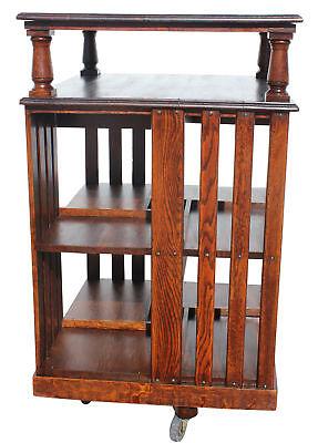 Restored Quartered Oak Revolving Bookcase