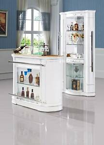 Luxurious Bar Set White Corner Display Cabinet And Counter
