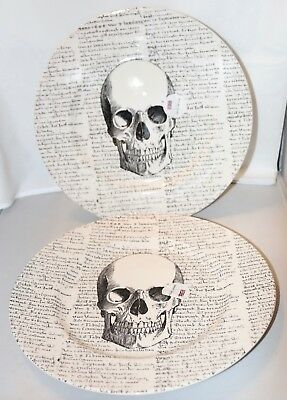 Royal Stafford HALLOWEEN SKULL SCRIPT DINNER PLATES Set 2 NEW English 4 Availabl](Halloween Dinner)