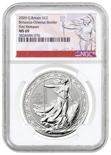 2020 Britain Oriental Border Britannia 1 oz Silver £2 Coin NGC MS69 FR SKU60766