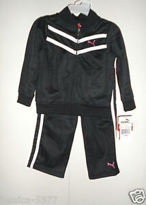 Puma-infant-Girls-2-Piece-Black-Tracksuit-Outfit-Size-24-months-NWT