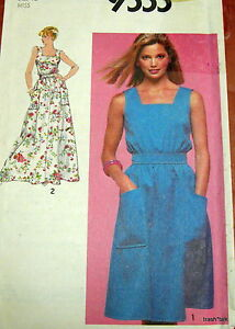 Vtg-80s-sundress-pattern-womens-dress-sz-12-B34-evening-2-lengths-square-neck