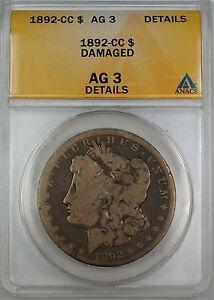 1892-CC-Morgan-Silver-Dollar-ANACS-AG-3-Details-Damaged-Almost-Good-Coin