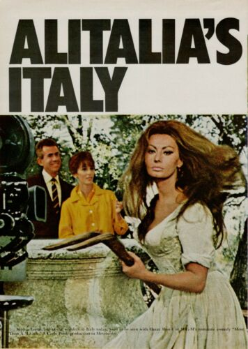 1967 Alitalia Italy Sophia Loren Movie Set  Pitchfork Original Vintage Print Ad