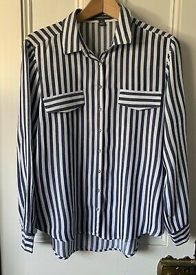 Blue and white striped blouse / shirt size large by Alexander Jordan