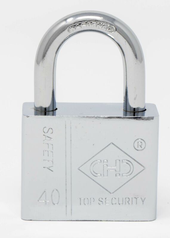 Kole OF645 Keyed Alike Padlocks 3 Pack Chrome Solid Steel Locks with 6 Keys