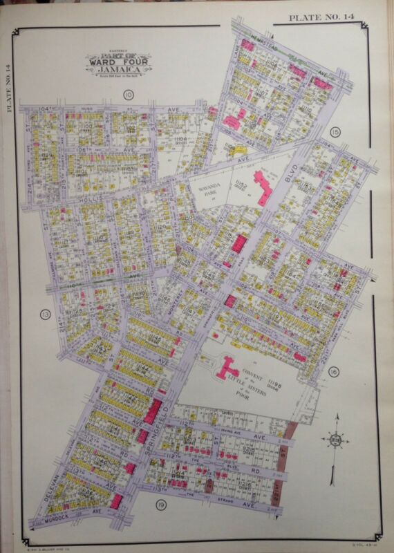 ORIG 1942 E. BELCHER HYDE ATLAS MAP QUEENS VILLAGE NEW YORK 20 X 28