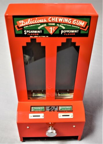 "VINTAGE JOLLY GOOD INDUSTRIES PENNY GUM MACHINE ""DELICIOUS CHEWING GUM"" w/2 KEYS"