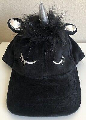 Velvet black unicorn cap hat silver horn tuft of hair closed eyes one size