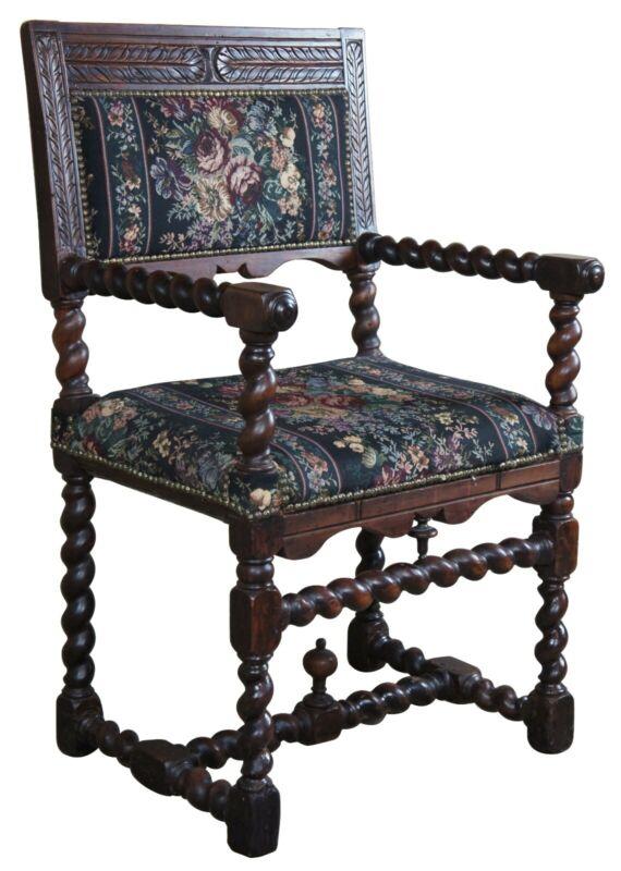 English Antique 19th Century Oak Barley Twist Throne Chair Jacobean Renaissance