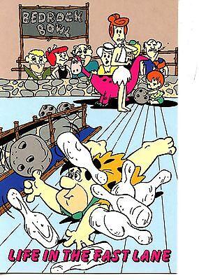 Fred Flintstone-Bedrock Bowling Alley-Fast Lane-Cartoon Drawing-Modern Postcard (Flintstones Bowling)