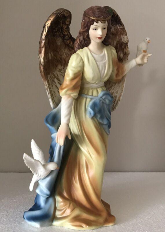"O'Well ANGEL Porcelain 2 Doves Of Peace 11"" Figurine Golden Blue Sash Pristine!!"