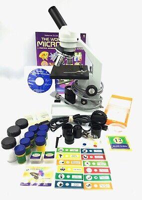 Amscope Illuminator Science Student Microscope And Accessories 63 Piece