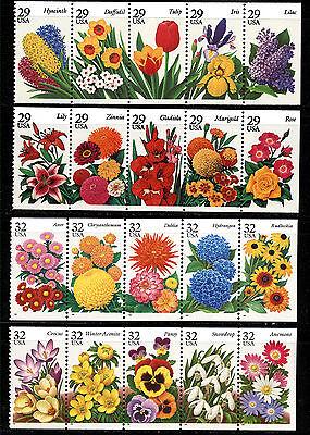 US SCOTT 2760-4 2993-7 2829-3 &3025-9 FLOWERS SET OF 4 PANES OF 5MNH FREE SHIP