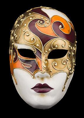 Mask Venice Face Volto Orange golden Paper Mache Gold embellishment 1761 VG10