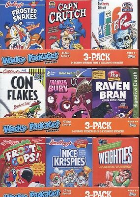 Wacky Packages Stickers Series Nine Empty Cereal Card Box Collection