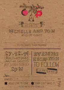 50 Personalised Christmas Rustic / Country / Vintage Wedding Invitations!