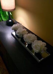 Decor pots w/Artificial Flowers on the Mirror base