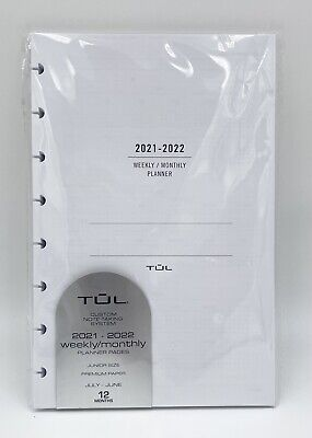 Tul Academic Weeklymonthly Planner Refill Pages Jr Size July 2021- June 2022