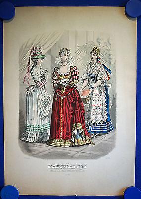 MASKEN - ALBUM Nr. 18 - sehr schön kolorierter Original-Stahlstich um 1880!
