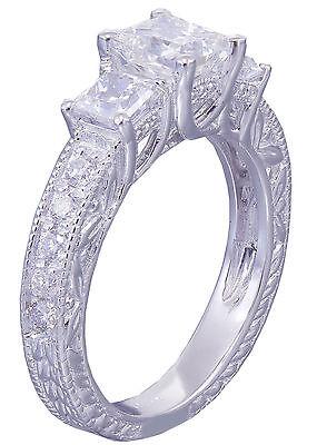 GIA I-SI1 14k White Gold Princess Cut Diamond Engagement Ring Antique 1.60ctw 3