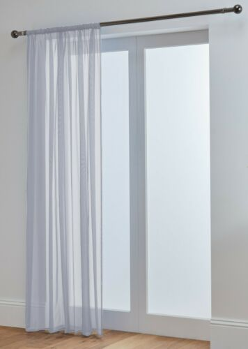 Lucy+Extra+Long+Silver+Grey+Voile+Slot+Top+Curtain+Panel+118%22+%28300cm%29+3m+Drop