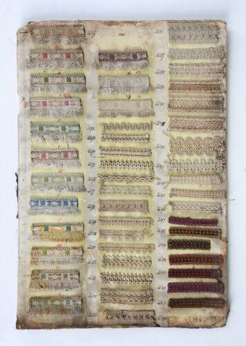 Lot of 46 Antique Samples Tapestry Ribbon Fringe Soutache Trim Passimenterie
